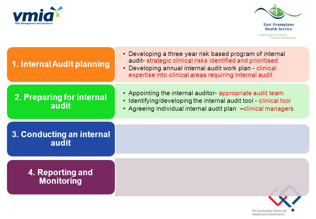 Developing a three year risk based program of internal audit- strategic clinical risks identified and prioritised Developing annual internal audit wor
