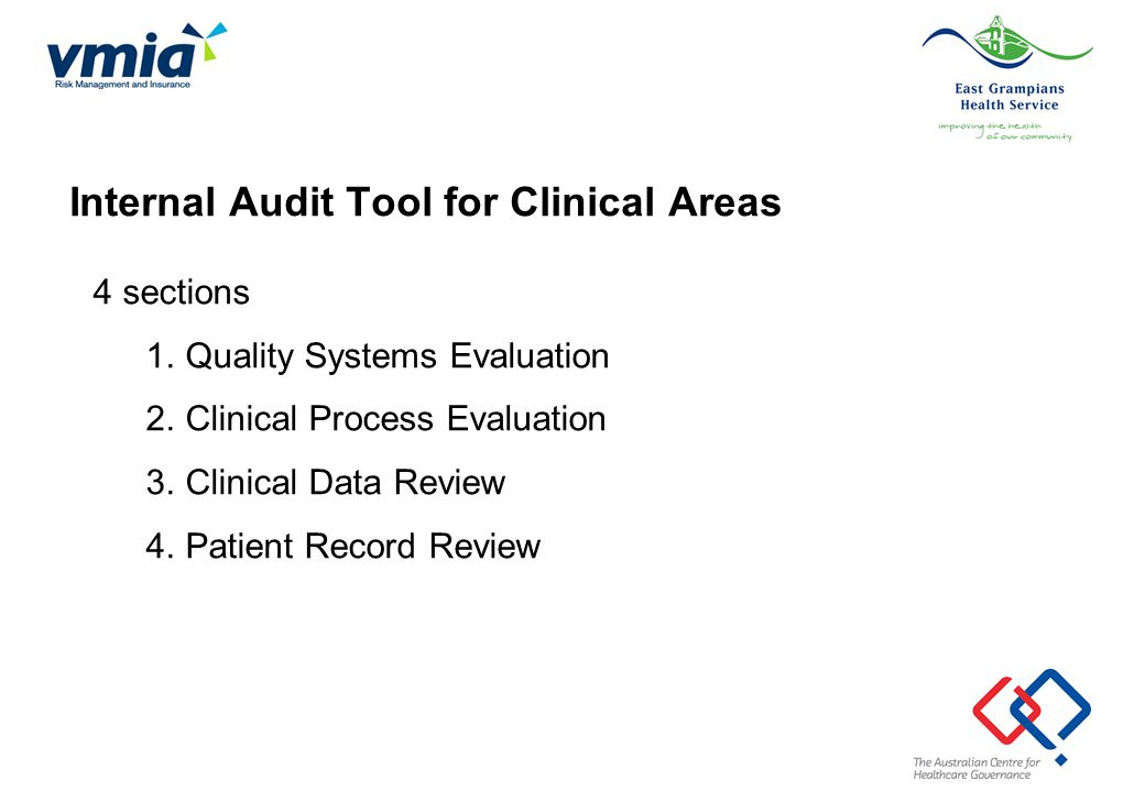 4 sections 1.Quality Systems Evaluation 2.Clinical Process Evaluation 3.Clinical Data Review 4.Patient Record Review Internal Audit Tool for Clinical