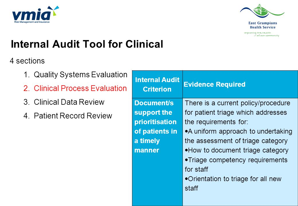 Internal Audit Tool for Clinical 4 sections 1.Quality Systems Evaluation 2.Clinical Process Evaluation 3.Clinical Data Review 4.Patient Record Review