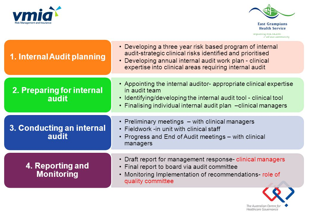 Developing a three year risk based program of internal audit-strategic clinical risks identified and prioritised Developing annual internal audit work