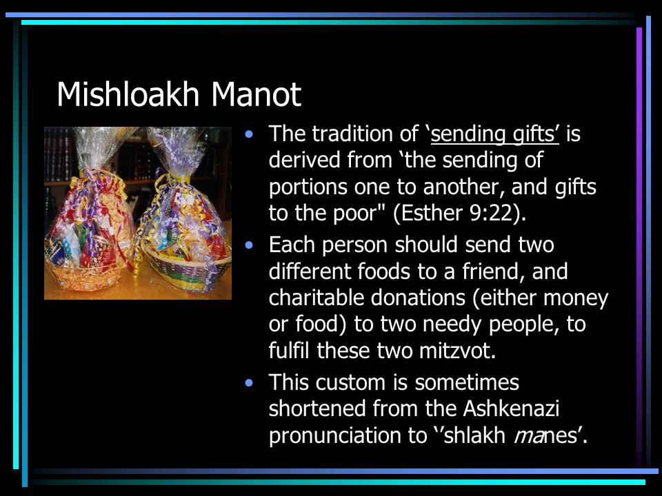 Mishloakh Manot The tradition of 'sending gifts' is derived from 'the sending of portions one to another, and gifts to the poor