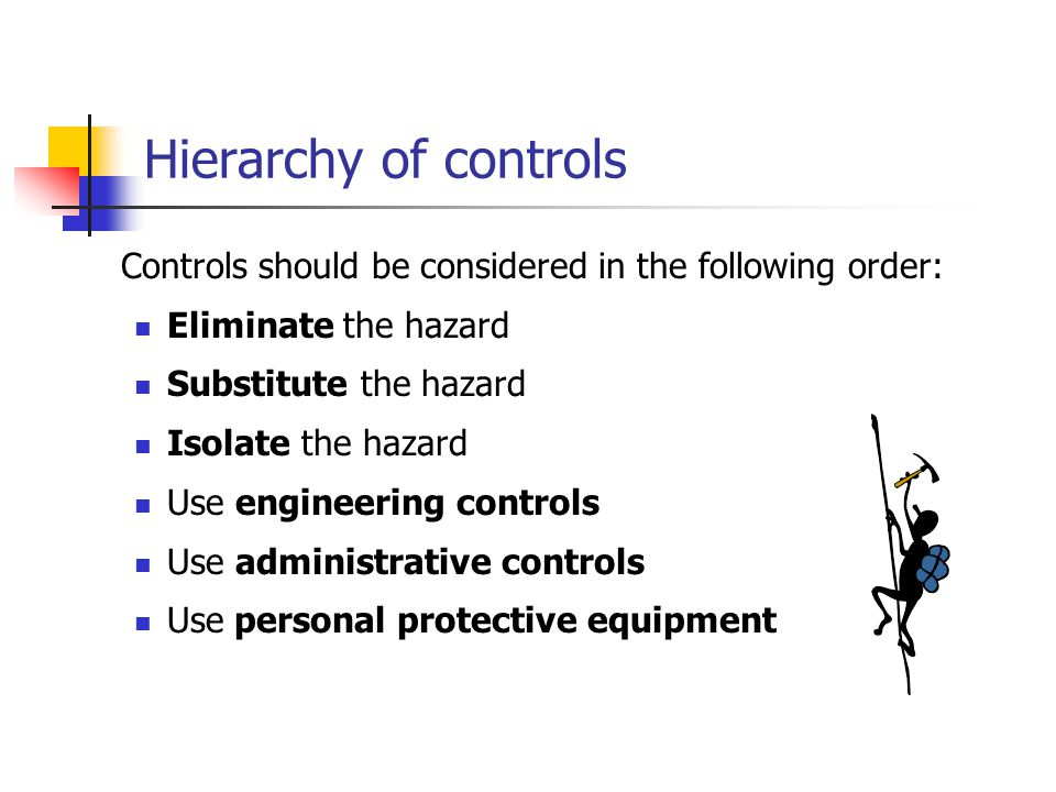 Controls should be considered in the following order: Eliminate the hazard Substitute the hazard Isolate the hazard Use engineering controls Use admin