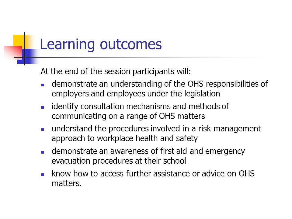 What is OHS? OHS is about the health, safety and welfare of all people in the workplace.