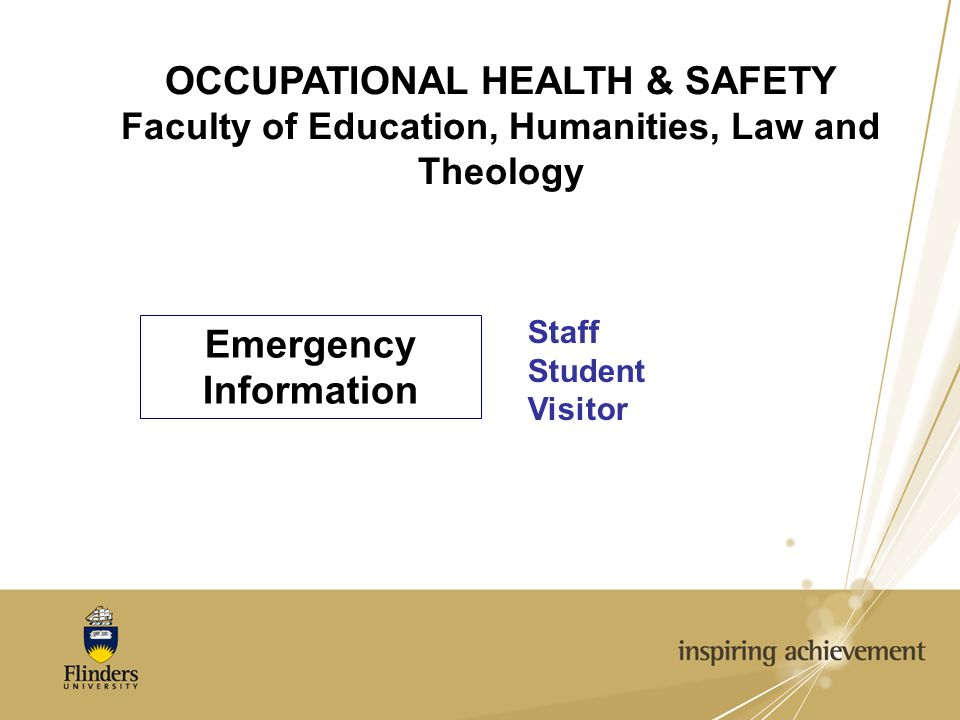 OCCUPATIONAL HEALTH & SAFETY Faculty of Education, Humanities, Law and Theology Emergency Information Staff Student Visitor