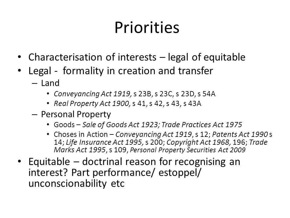 Priorities Characterisation of interests – legal of equitable Legal - formality in creation and transfer – Land Conveyancing Act 1919, s 23B, s 23C, s