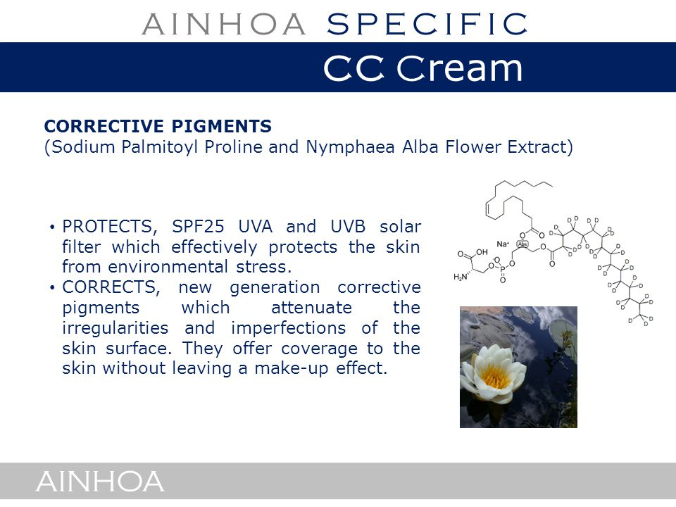 AINHOA CORRECTIVE PIGMENTS (Sodium Palmitoyl Proline and Nymphaea Alba Flower Extract) AINHOA PROTECTS, SPF25 UVA and UVB solar filter which effectively protects the skin from environmental stress.