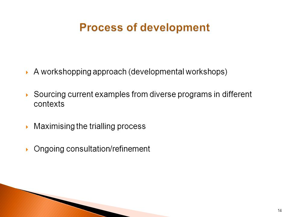  A workshopping approach (developmental workshops)  Sourcing current examples from diverse programs in different contexts  Maximising the trialling