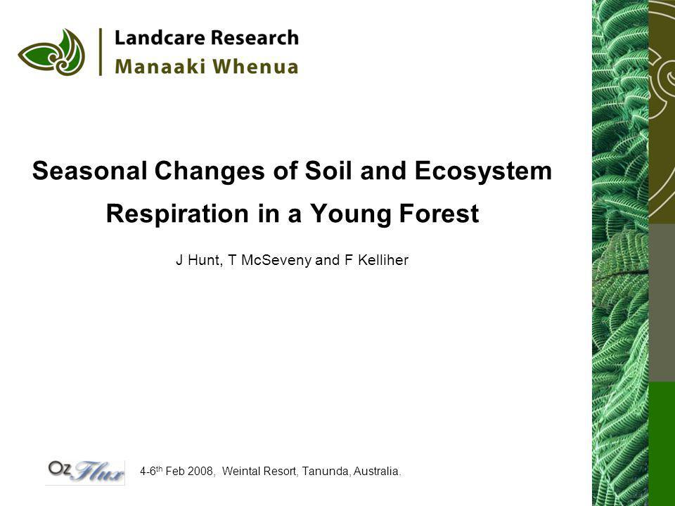 Seasonal Changes of Soil and Ecosystem Respiration in a Young Forest J Hunt, T McSeveny and F Kelliher 4-6 th Feb 2008, Weintal Resort, Tanunda, Australia.
