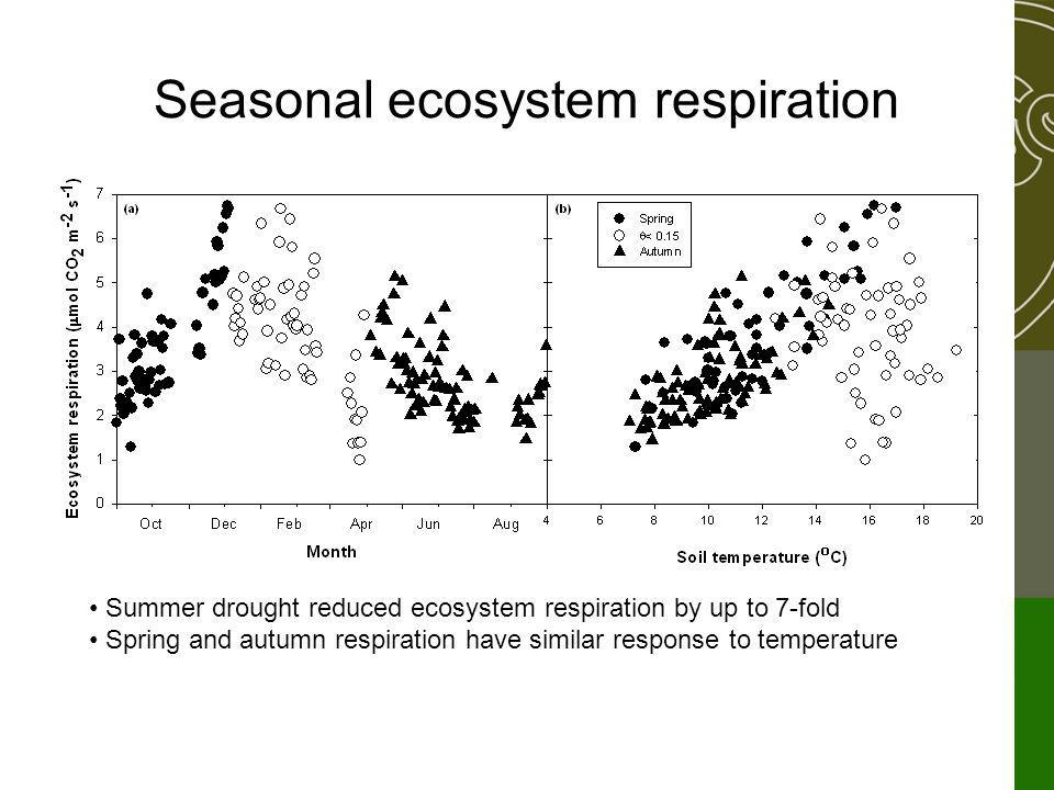 Seasonal ecosystem respiration Summer drought reduced ecosystem respiration by up to 7-fold Spring and autumn respiration have similar response to temperature