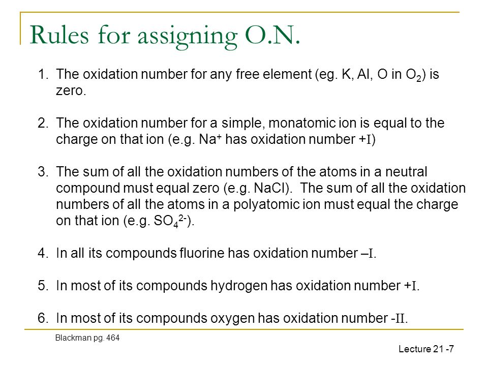 Lecture 21 -7 Rules for assigning O.N.1.The oxidation number for any free element (eg.