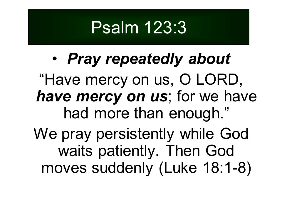 Psalm 123:3 Pray repeatedly about Have mercy on us, O LORD, have mercy on us; for we have had more than enough. We pray persistently while God waits patiently.