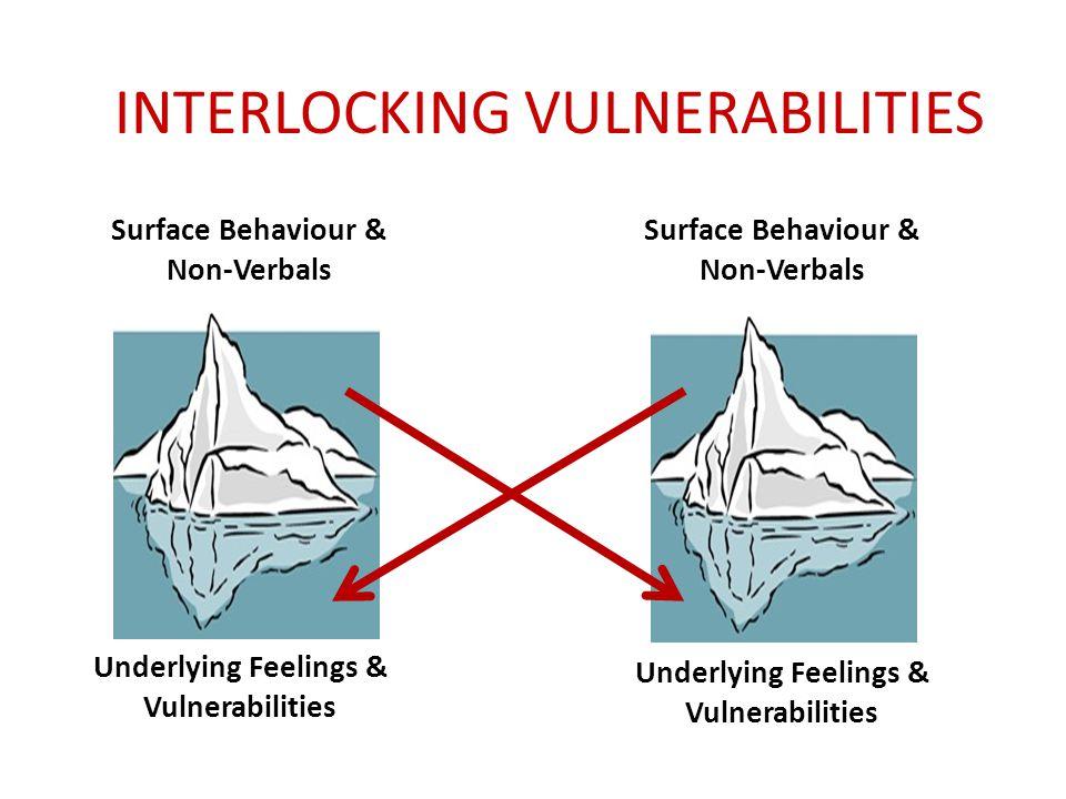 INTERLOCKING VULNERABILITIES Surface Behaviour & Non-Verbals Underlying Feelings & Vulnerabilities Surface Behaviour & Non-Verbals Underlying Feelings