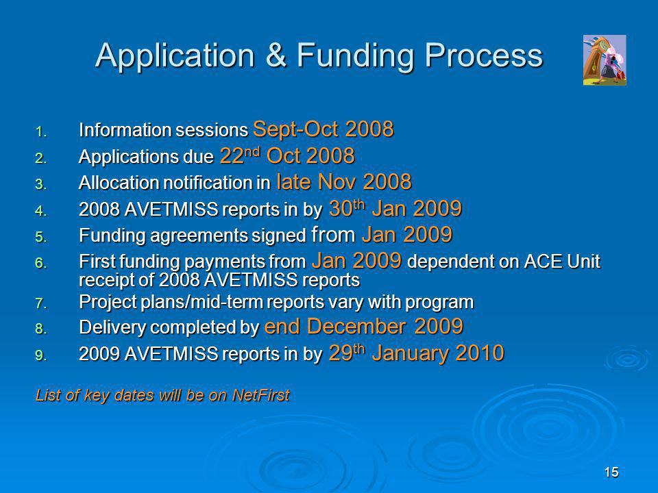 15 Application & Funding Process 1. Information sessions Sept-Oct 2008 2. Applications due 22 nd Oct 2008 3. Allocation notification in late Nov 2008