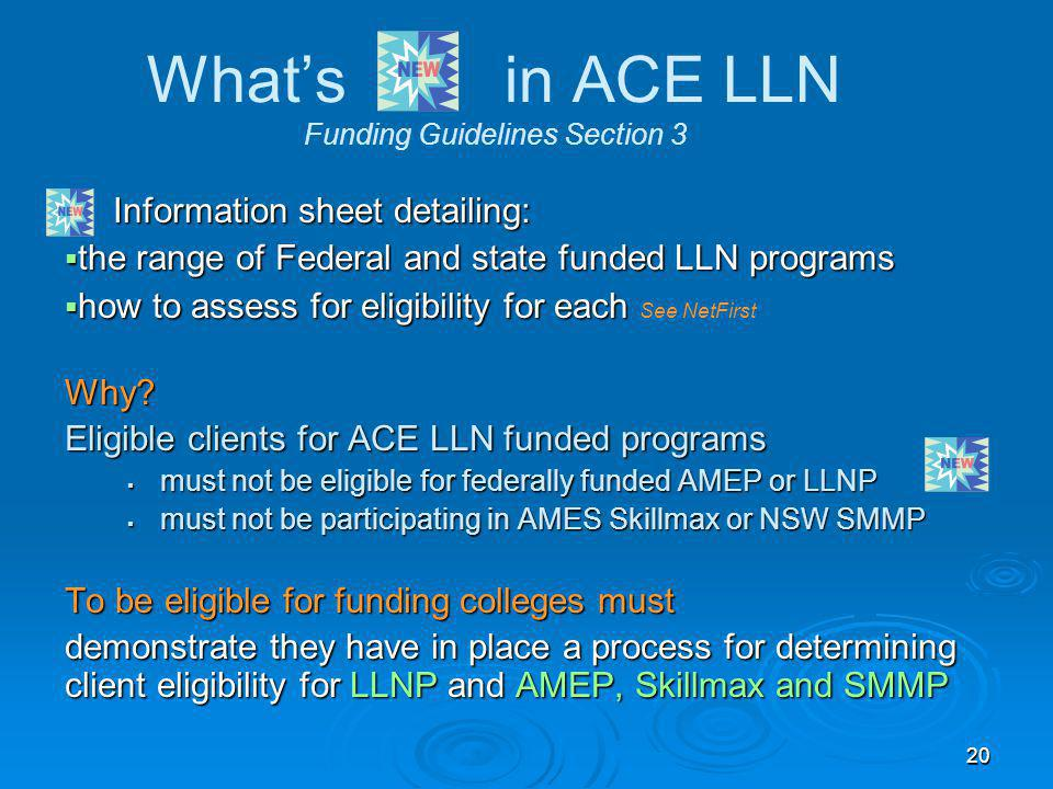 20 What's in ACE LLN Funding Guidelines Section 3 Information sheet detailing: Information sheet detailing:  the range of Federal and state funded LL