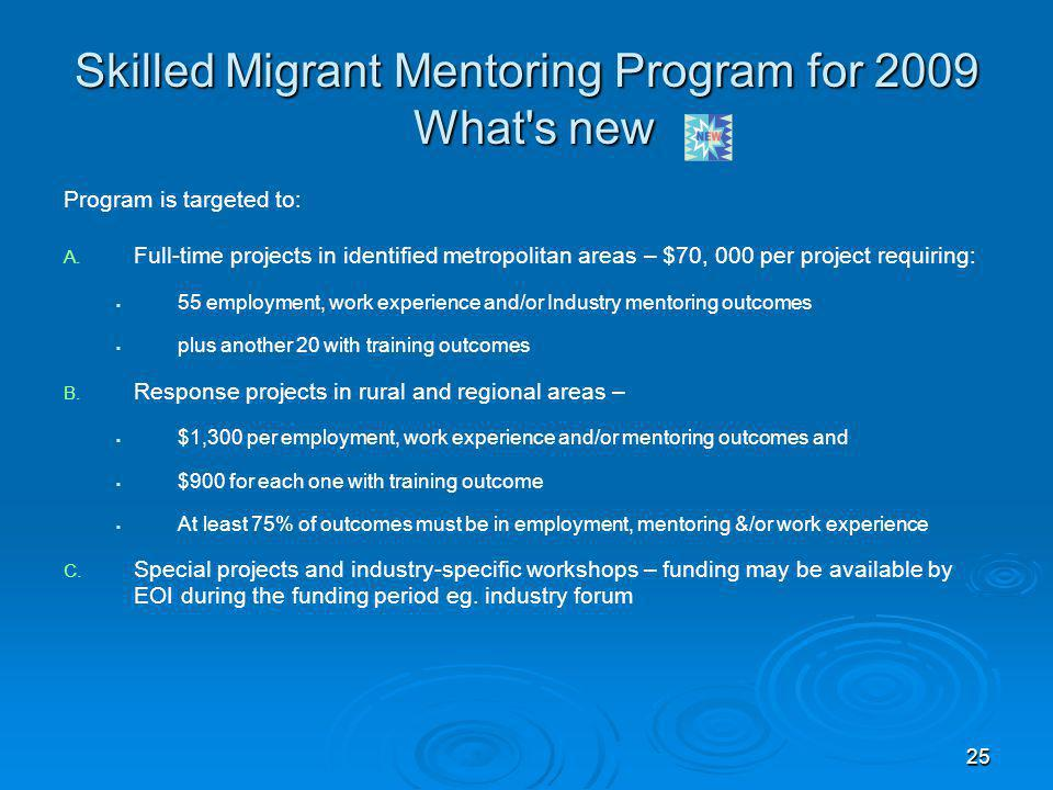 25 Skilled Migrant Mentoring Program for 2009 What's new Program is targeted to: A. A. Full-time projects in identified metropolitan areas – $70, 000