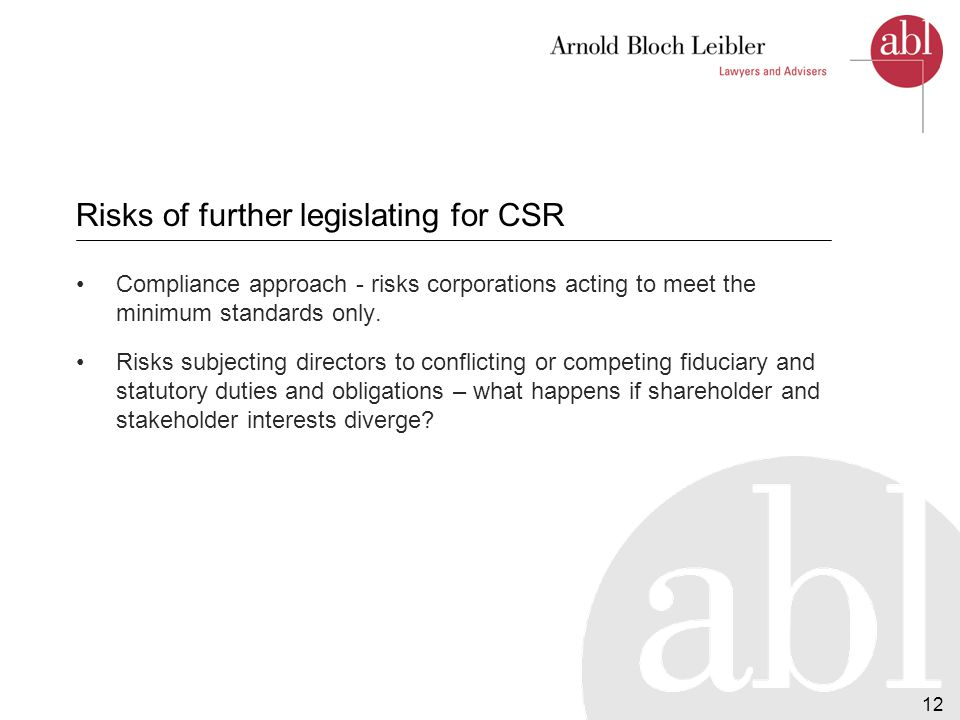 12 Risks of further legislating for CSR Compliance approach - risks corporations acting to meet the minimum standards only.