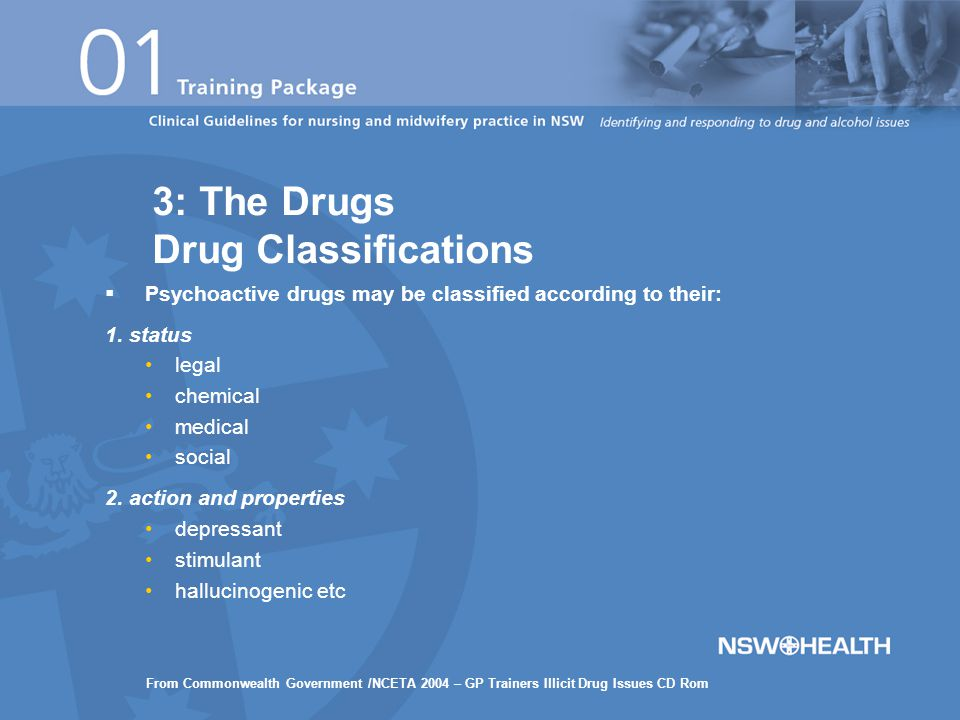  Psychoactive drugs may be classified according to their: 1.