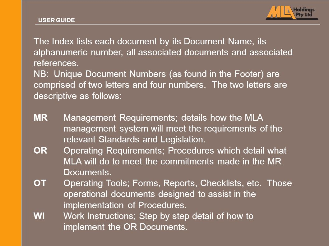 The Index lists each document by its Document Name, its alphanumeric number, all associated documents and associated references. NB: Unique Document N