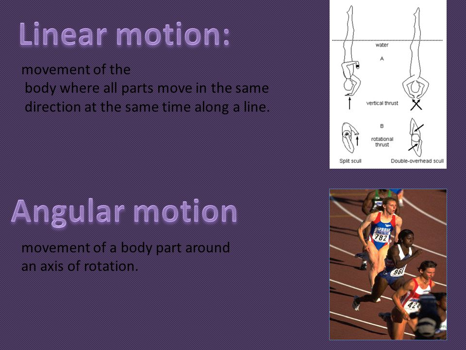 movement of the body where all parts move in the same direction at the same time along a line. movement of a body part around an axis of rotation.
