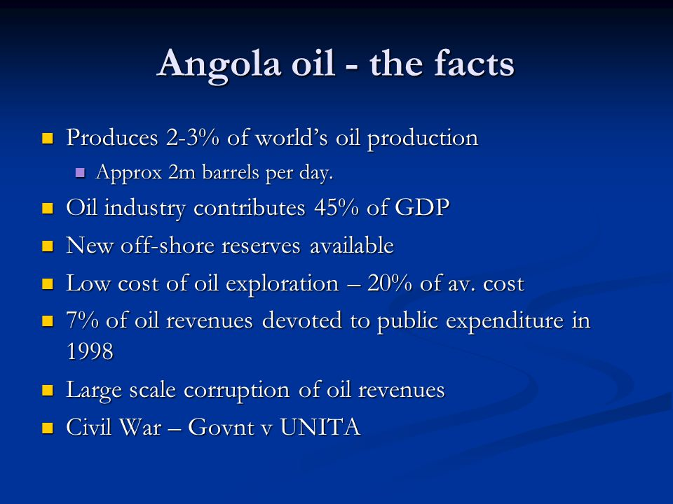 Angola oil - the facts Produces 2-3% of world's oil production Produces 2-3% of world's oil production Approx 2m barrels per day.