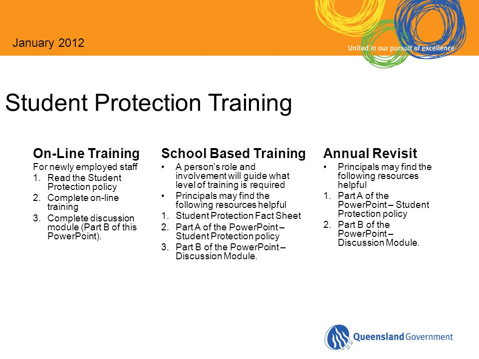 Student Protection Training On-Line Training For newly employed staff 1.Read the Student Protection policy 2.Complete on-line training 3.Complete disc