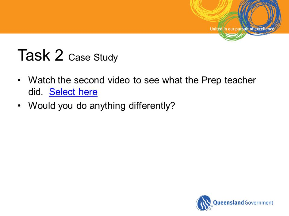 Task 2 Case Study Watch the second video to see what the Prep teacher did. Select hereSelect here Would you do anything differently?