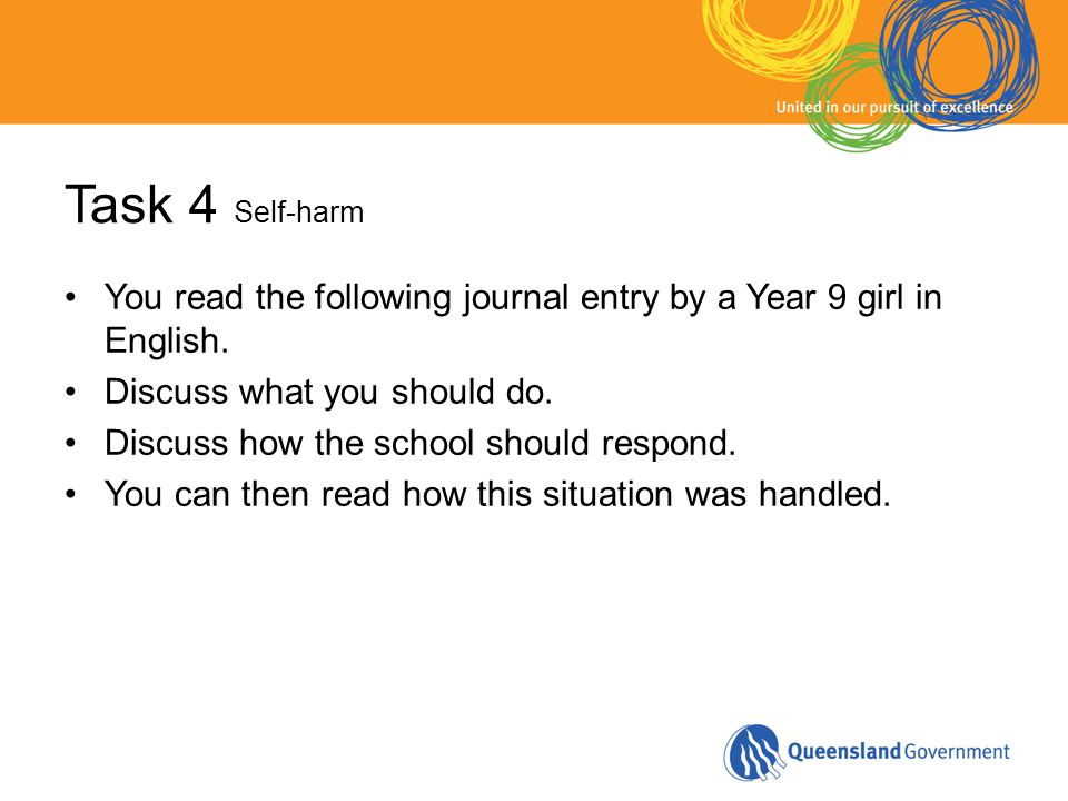 Task 4 Self-harm You read the following journal entry by a Year 9 girl in English. Discuss what you should do. Discuss how the school should respond.