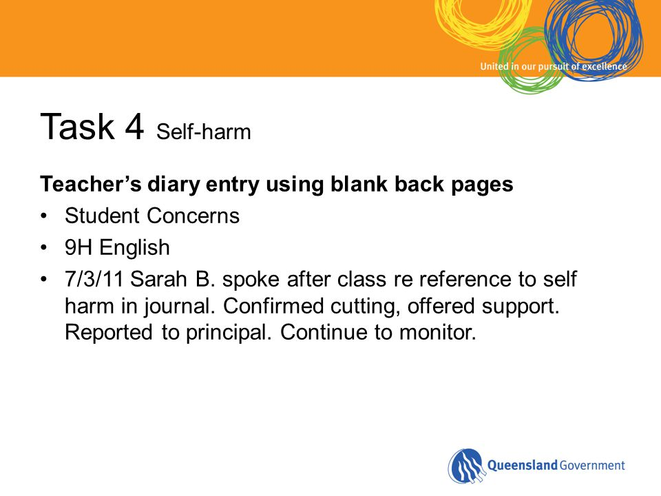 Task 4 Self-harm Teacher's diary entry using blank back pages Student Concerns 9H English 7/3/11 Sarah B. spoke after class re reference to self harm