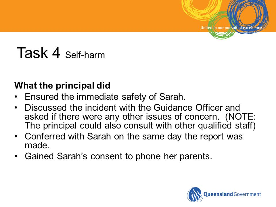Task 4 Self-harm What the principal did Ensured the immediate safety of Sarah.