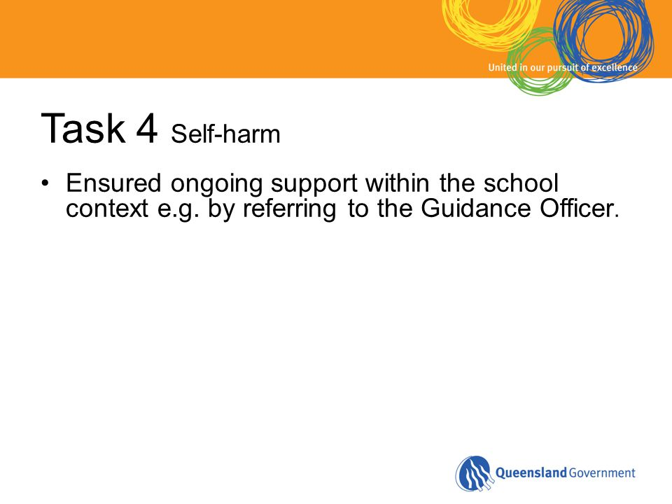 Task 4 Self-harm Ensured ongoing support within the school context e.g. by referring to the Guidance Officer.