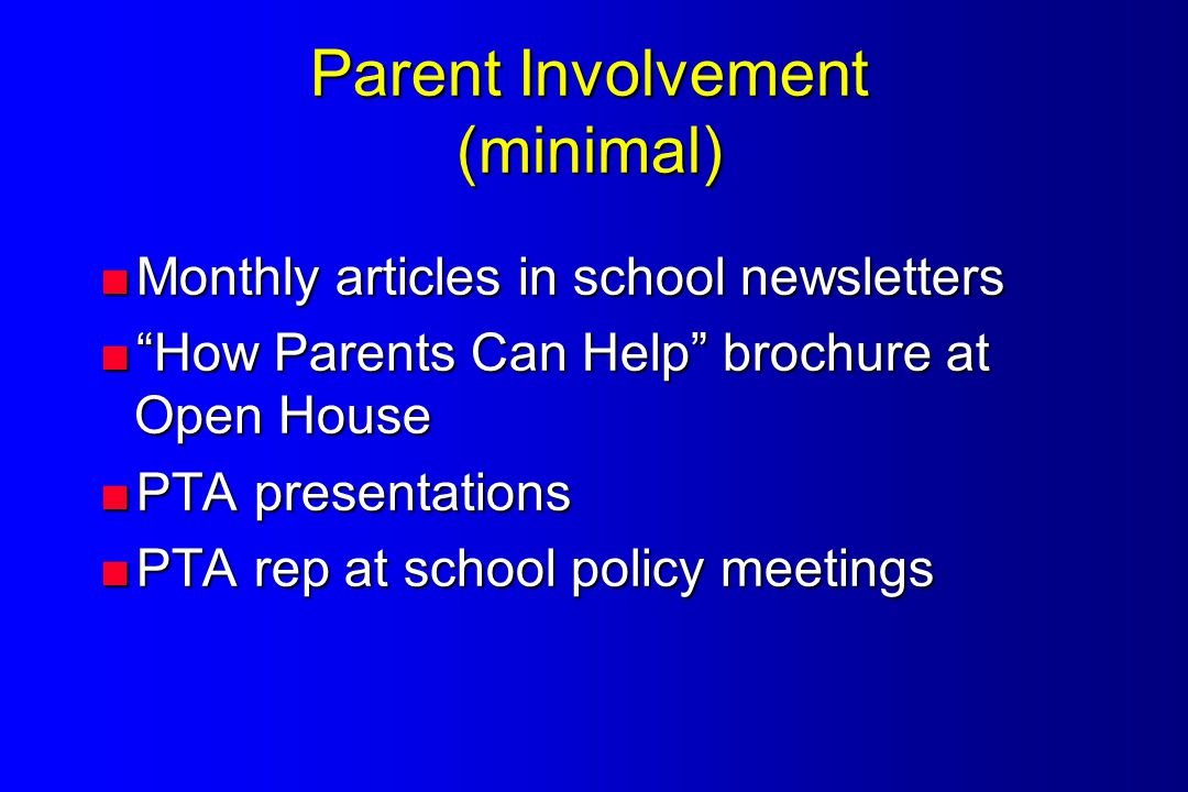 Parent Involvement (minimal)  Monthly articles in school newsletters  How Parents Can Help brochure at Open House  PTA presentations  PTA rep at school policy meetings