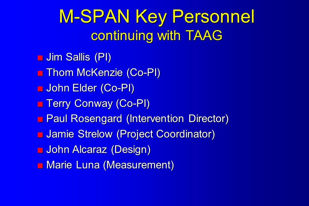 M-SPAN Key Personnel continuing with TAAG  Jim Sallis (PI)  Thom McKenzie (Co-PI)  John Elder (Co-PI)  Terry Conway (Co-PI)  Paul Rosengard (Intervention Director)  Jamie Strelow (Project Coordinator)  John Alcaraz (Design)  Marie Luna (Measurement)