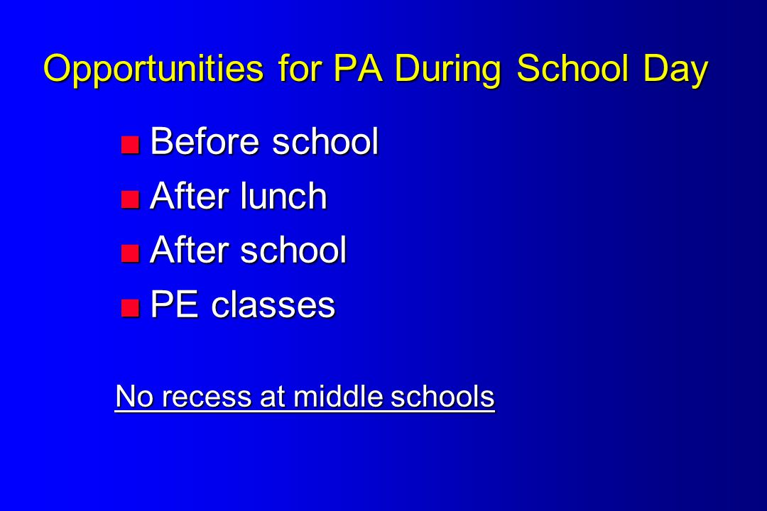 Opportunities for PA During School Day  Before school  After lunch  After school  PE classes No recess at middle schools