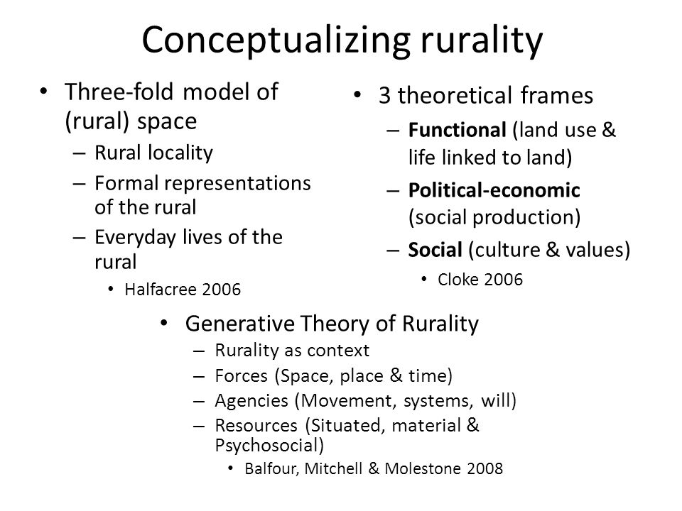 Conceptualizing rurality 3 theoretical frames – Functional (land use & life linked to land) – Political-economic (social production) – Social (culture & values) Cloke 2006 Three-fold model of (rural) space – Rural locality – Formal representations of the rural – Everyday lives of the rural Halfacree 2006 Generative Theory of Rurality – Rurality as context – Forces (Space, place & time) – Agencies (Movement, systems, will) – Resources (Situated, material & Psychosocial) Balfour, Mitchell & Molestone 2008