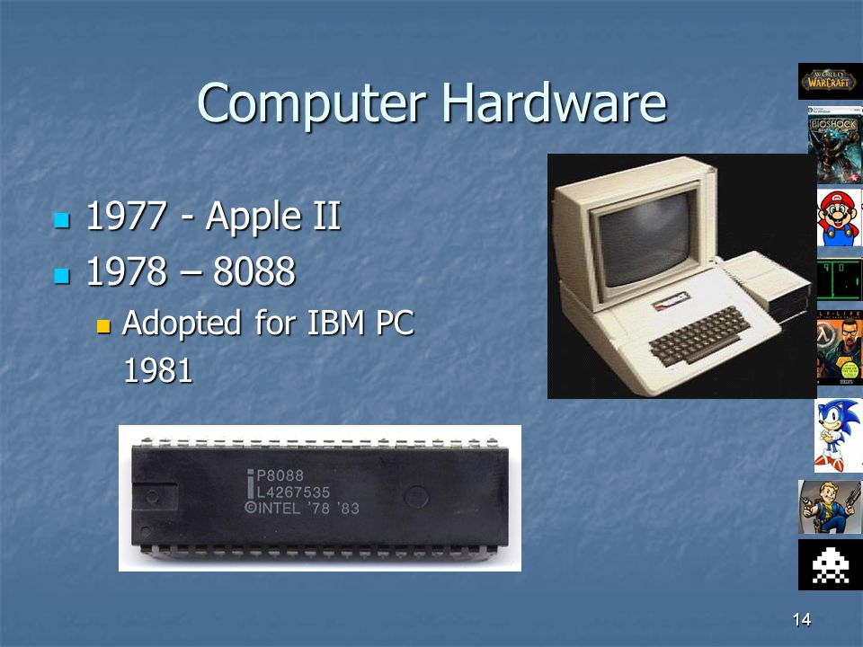 14 Computer Hardware 1977 - Apple II 1977 - Apple II 1978 – 8088 1978 – 8088 Adopted for IBM PC Adopted for IBM PC1981