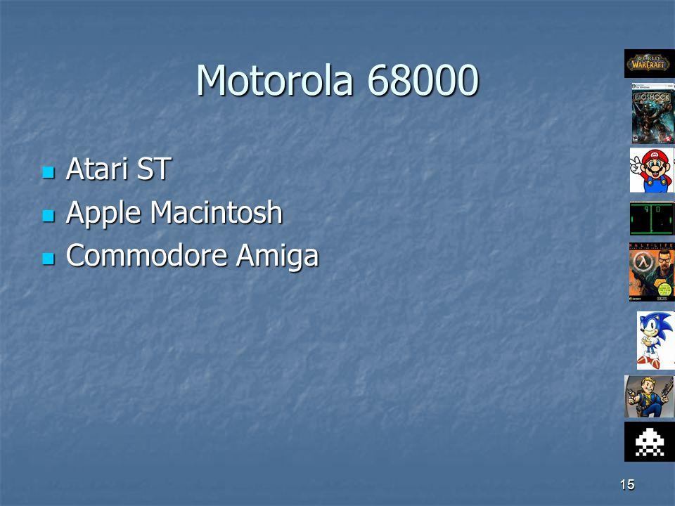 15 Motorola 68000 Atari ST Atari ST Apple Macintosh Apple Macintosh Commodore Amiga Commodore Amiga