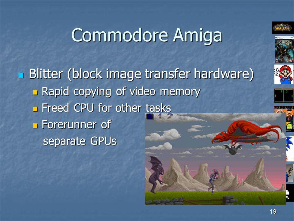 19 Commodore Amiga Blitter (block image transfer hardware) Blitter (block image transfer hardware) Rapid copying of video memory Rapid copying of video memory Freed CPU for other tasks Freed CPU for other tasks Forerunner of Forerunner of separate GPUs separate GPUs