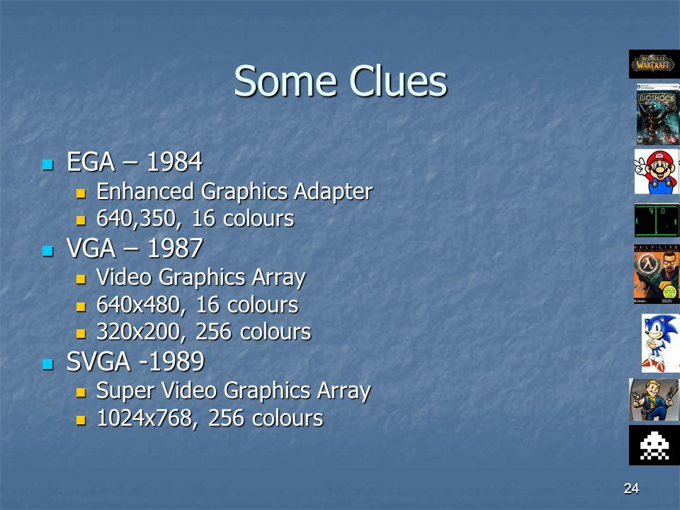 24 Some Clues EGA – 1984 EGA – 1984 Enhanced Graphics Adapter Enhanced Graphics Adapter 640,350, 16 colours 640,350, 16 colours VGA – 1987 VGA – 1987 Video Graphics Array Video Graphics Array 640x480, 16 colours 640x480, 16 colours 320x200, 256 colours 320x200, 256 colours SVGA -1989 SVGA -1989 Super Video Graphics Array Super Video Graphics Array 1024x768, 256 colours 1024x768, 256 colours