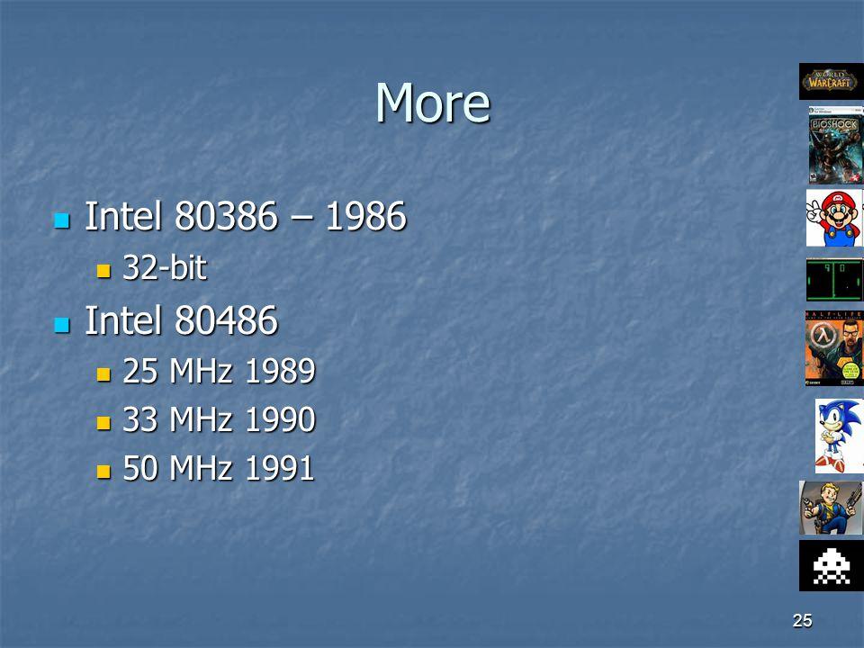 25 More Intel 80386 – 1986 Intel 80386 – 1986 32-bit 32-bit Intel 80486 Intel 80486 25 MHz 1989 25 MHz 1989 33 MHz 1990 33 MHz 1990 50 MHz 1991 50 MHz 1991