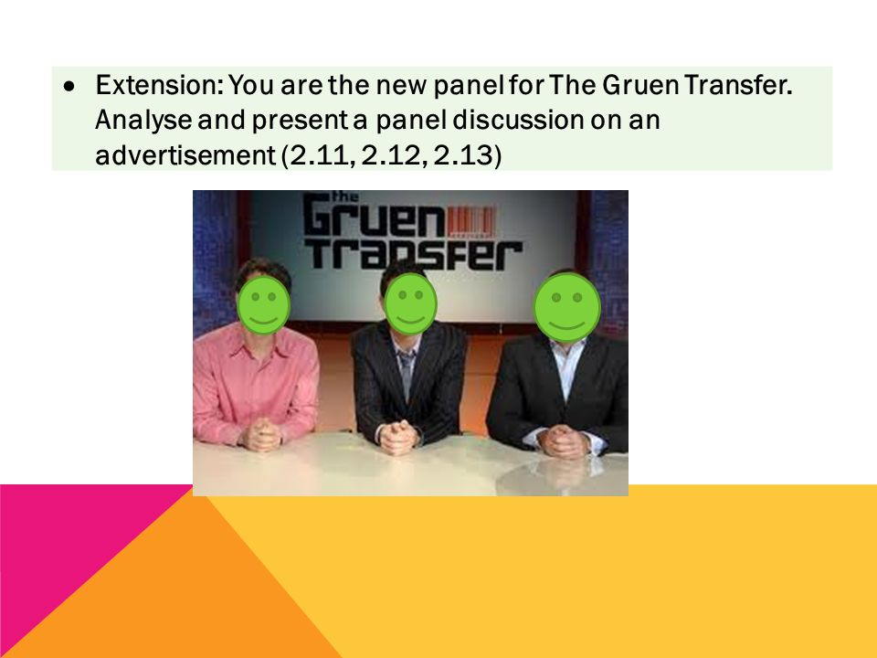  Extension: You are the new panel for The Gruen Transfer. Analyse and present a panel discussion on an advertisement (2.11, 2.12, 2.13)
