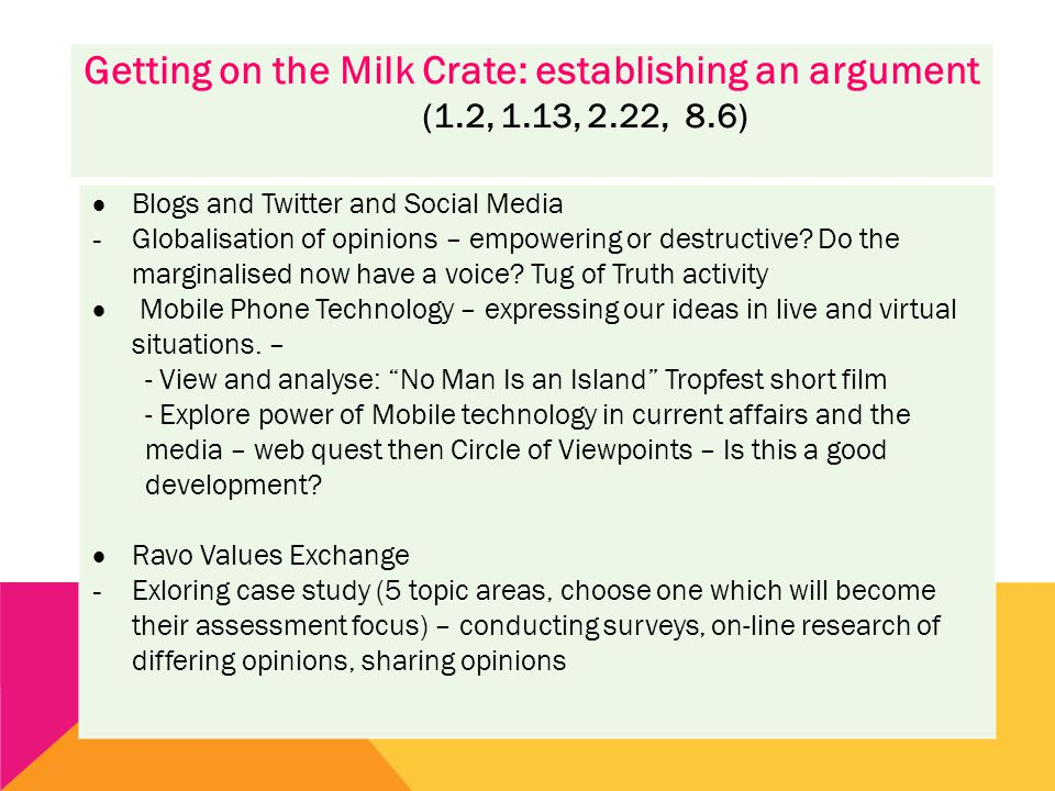 Getting on the Milk Crate: establishing an argument (1.2, 1.13, 2.22, 8.6)  Blogs and Twitter and Social Media - Globalisation of opinions – empowering or destructive.