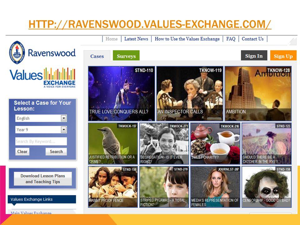 HTTP://RAVENSWOOD.VALUES-EXCHANGE.COM/ Speaking and Listening skills (1.5, 2.21, 1.16, 2.13, 2.11, 2.12, 4.1.