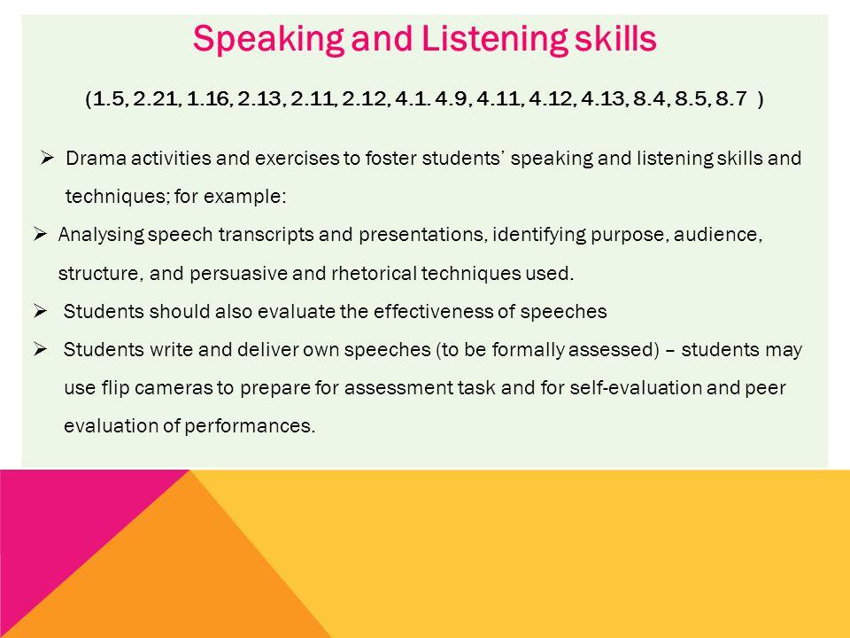 Speaking and Listening skills (1.5, 2.21, 1.16, 2.13, 2.11, 2.12, 4.1.