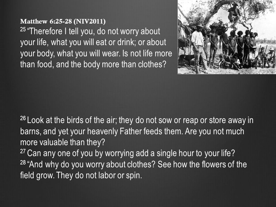 Matthew 6:28-29 (NIV2011) 28 And why do you worry about clothes.