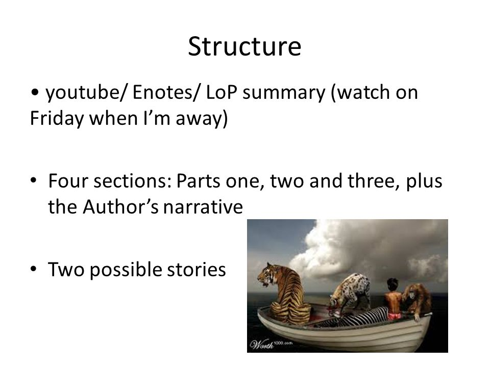Structure youtube/ Enotes/ LoP summary (watch on Friday when I'm away) Four sections: Parts one, two and three, plus the Author's narrative Two possib
