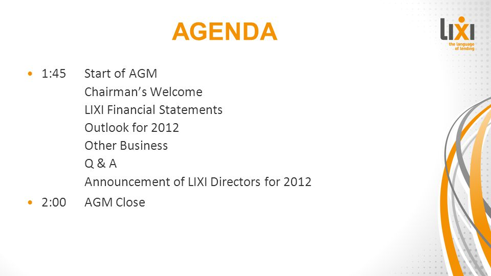 LIXI DIRECTORS FOR 2012