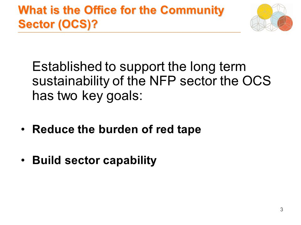 3 What is the Office for the Community Sector (OCS).