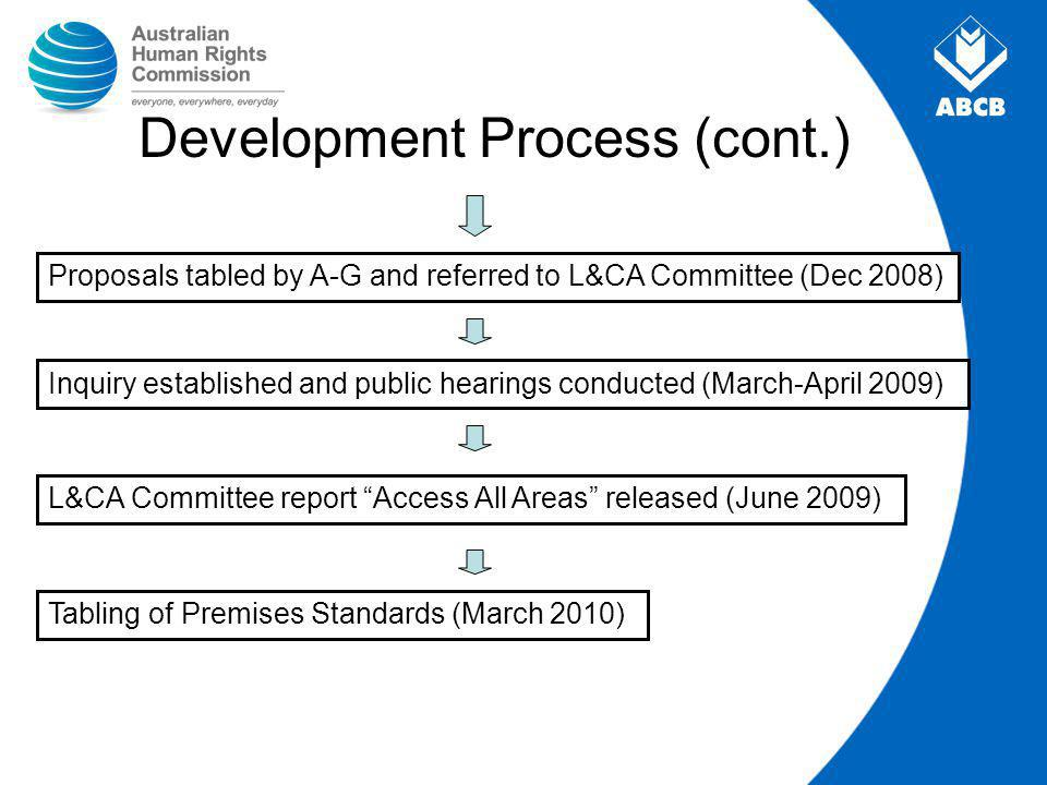 Development Process (cont.) Proposals tabled by A-G and referred to L&CA Committee (Dec 2008) Inquiry established and public hearings conducted (March-April 2009) Tabling of Premises Standards (March 2010) L&CA Committee report Access All Areas released (June 2009)