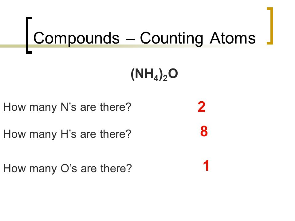 Compounds – Counting Atoms (NH 4 ) 2 O How many N's are there.