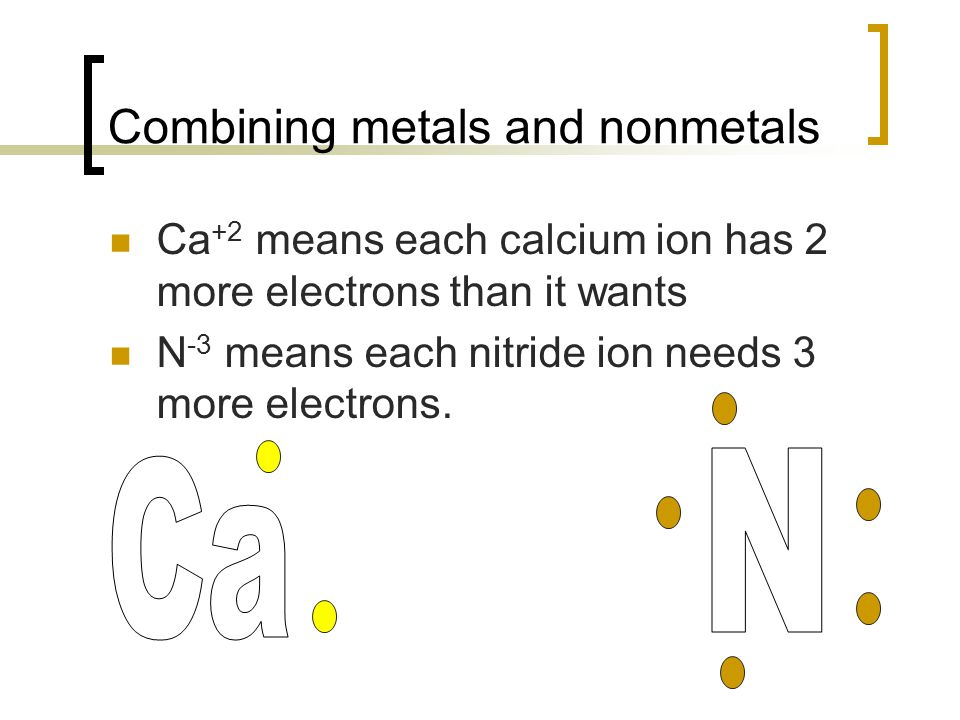 Combining metals and nonmetals Ca +2 means each calcium ion has 2 more electrons than it wants N -3 means each nitride ion needs 3 more electrons.